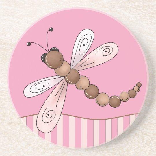 Pink Dragonfly Sandstone Coaster