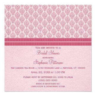 Pink Dramatic Damask Bridal Shower Invite