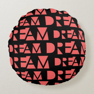 Pink Dream Geometric Shaped Letters Round Pillow