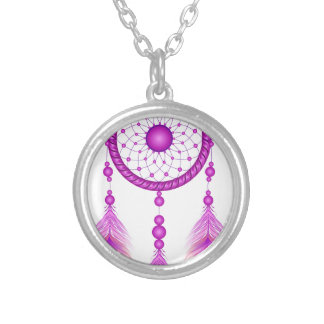 Pink Dreamcatcher Silver Plated Necklace