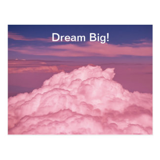 Pink dreamy aerial clouds postage stamp. postcard