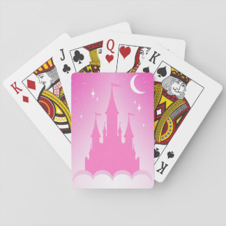 Pink Dreamy Castle In The Clouds Starry Moon Sky Poker Deck