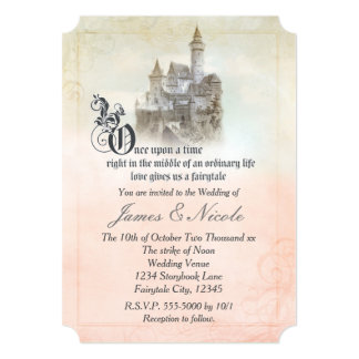 Pink Dreamy Fairy Tale Storybook Castle Wedding Card