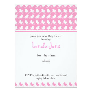 pink duck row baby shower invitation