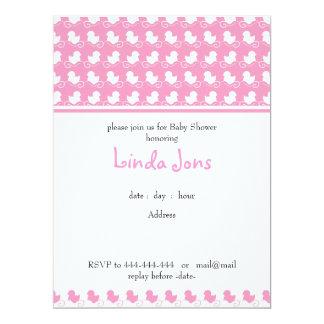 pink duck row baby shower invitation