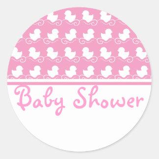 pink duck row baby shower seal sticker