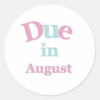 Pink Due in August Round Sticker