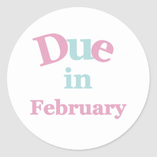 Pink Due in February Round Sticker