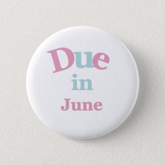 Pink Due in June 2 Inch Round Button