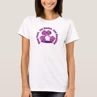 Pink Dumbbells Basic Slogan T-Shirt