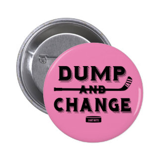 Pink Dump and Change Hockey Baby Girl Diaper 2 Inch Round Button