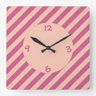 Pink Dusk and Fuchsia Stripes Wall Clock