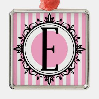 Pink 'E' monogram Silver-Colored Square Ornament