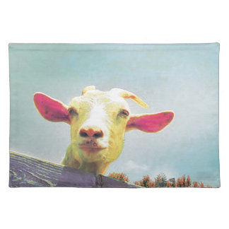 Pink-eared goat placemat
