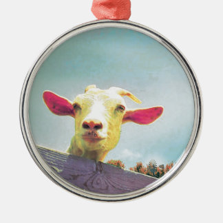 Pink-eared goat Silver-Colored round ornament