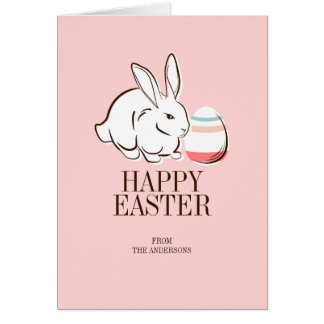 Pink Easter Bunny and Egg Happy Easter Card