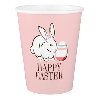 Pink Easter Bunny and Egg Happy Easter Paper Cup