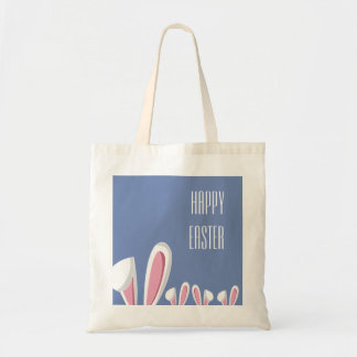 Pink Easter Bunny Ears on Blue , Happy Easter Tote