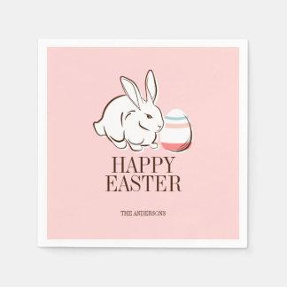 Pink Easter Bunny & Egg Happy Easter Paper Napkins