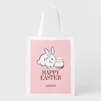 Pink Easter Bunny & Egg Happy Easter Reusable Bag
