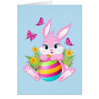 Pink Easter Bunny Note Card