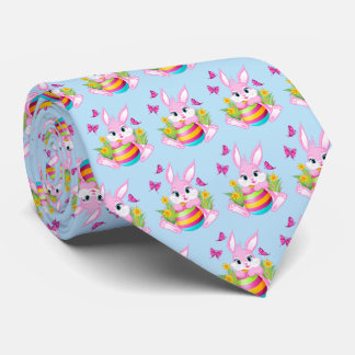 Pink Easter Bunny Pattern Tie