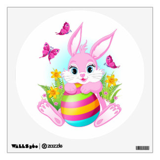 Pink Easter Bunny Wall Decal