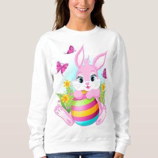Pink Easter Bunny White Sweatshirt