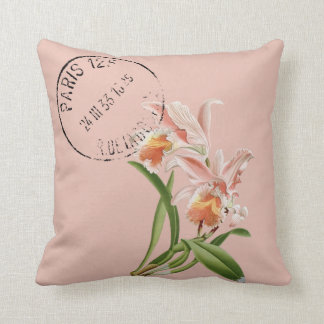 Pink Easter Cattleya Redouté Illustration Throw Pillow