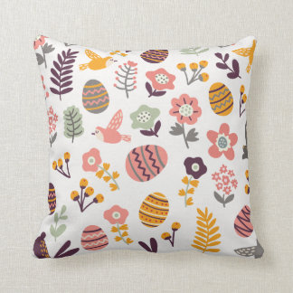 Pink Easter throw pillow bunny egg flower