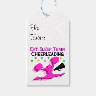 PINK EAT SLEEP TRAIN CHEERLEADING PACK OF GIFT TAGS