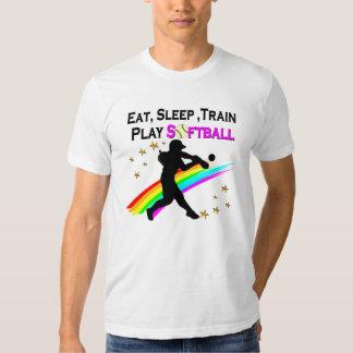 PINK EAT, SLEEP, TRAIN, PLAY SOFTBALL DESIGN SHIRT