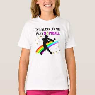 PINK EAT, SLEEP, TRAIN, PLAY SOFTBALL DESIGN T-Shirt