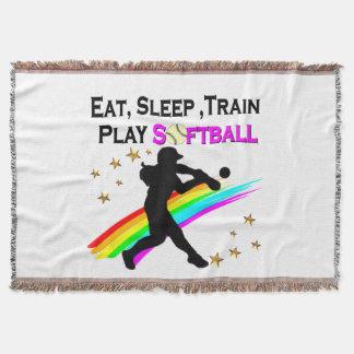 PINK EAT, SLEEP, TRAIN, PLAY SOFTBALL DESIGN THROW BLANKET