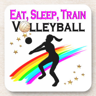 PINK EAT, SLEEP, TRAIN VOLLEYBALL DRINK COASTER