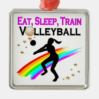 PINK EAT, SLEEP, TRAIN VOLLEYBALL METAL ORNAMENT