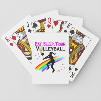 PINK EAT, SLEEP, TRAIN VOLLEYBALL PLAYING CARDS