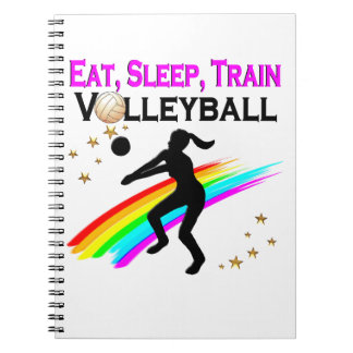 PINK EAT, SLEEP, TRAIN VOLLEYBALL SPIRAL NOTE BOOK
