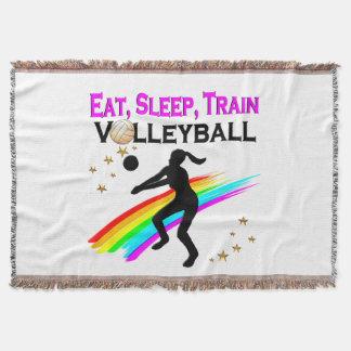 PINK EAT, SLEEP, TRAIN VOLLEYBALL THROW BLANKET