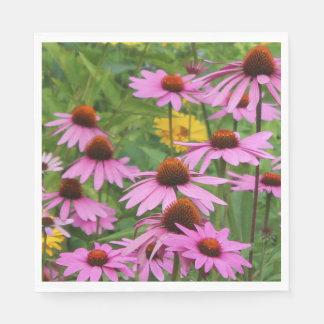 Pink Echinacea Coneflowers & Sunflower Paper Napkin