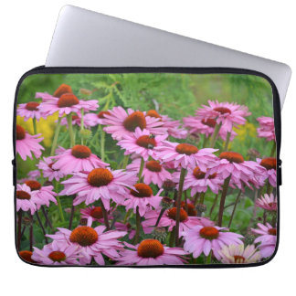Pink echinacea flowers laptop sleeve