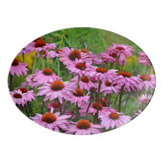 Pink echinacea flowers porcelain serving platter