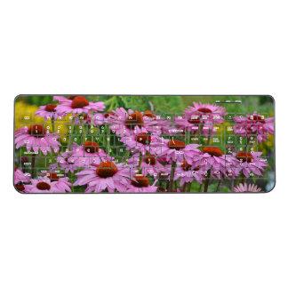 Pink echinacea flowers wireless keyboard