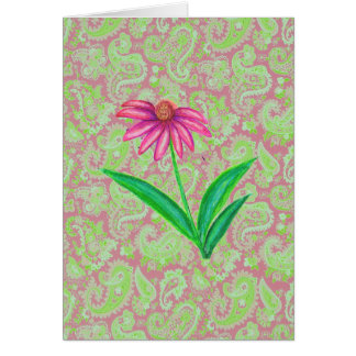 PINK ECHINACEA PAISLEY CARD
