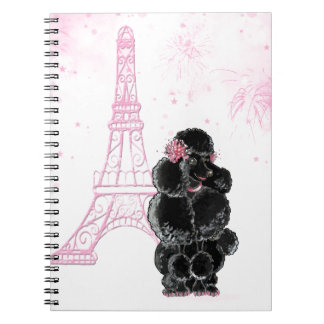 Pink Eiffel Tower and Black Poodle Notebook