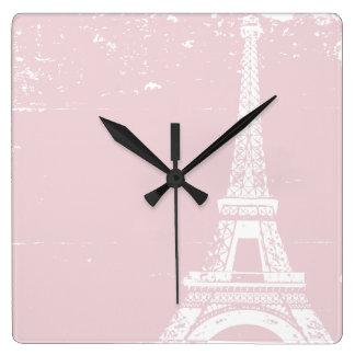Pink Eiffel Tower Custom Wall Clock