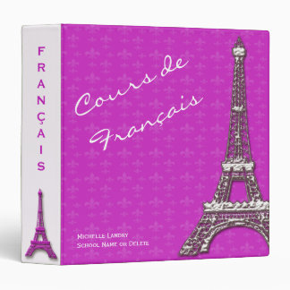 Pink Eiffel Tower French Class Binder
