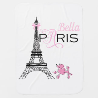 Pink Eiffel Tower Paris France Poodle Reversible Baby Blanket