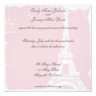 Pink Eiffel Tower Wedding Invitations