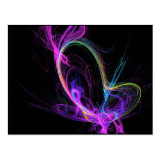 Pink Electric Fractal Postcard